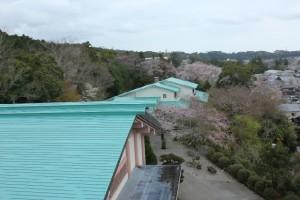 上空からみた屋根の完工写真です