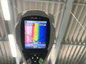 施工途中のサーモグラフィの写真です、未施工は赤くなり施工済みは青くなっています