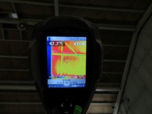 未施工屋根裏面温度(パネルあり) は下屋47.7℃でした