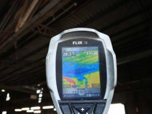 施工済み屋根裏面温度は28.3℃でした